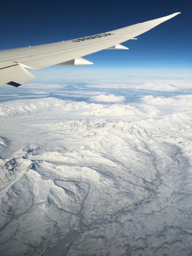 アラスカの上空