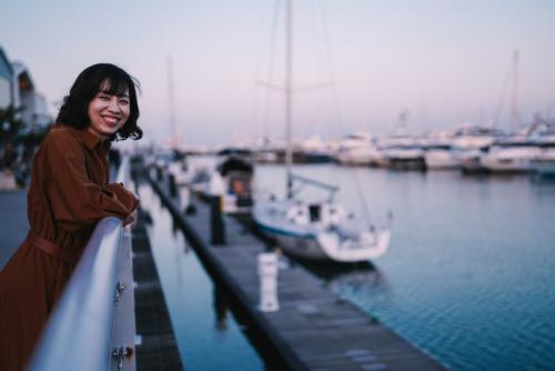 横浜で撮影!夕日が綺麗でした